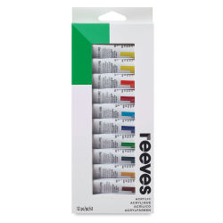 Reeves Acrylic Painting Set - Set of 12 colors, 10 ml tubes