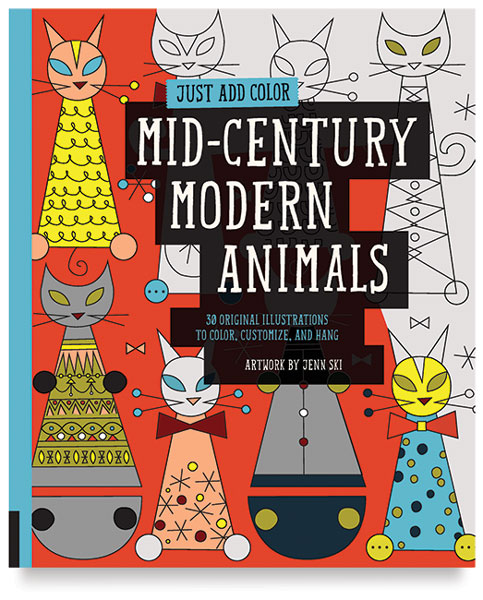 Just Add Color Series Coloring Book - Mid-Century Modern Animals