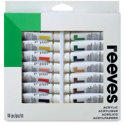 Reeves Acrylic Painting Set - Set of 18 colors, 10 ml tubes