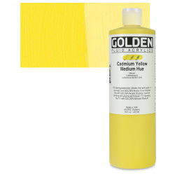 Golden Fluid Acrylics - Cadmium Yellow Medium Hue, 16 oz bottle