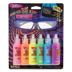 Tulip Dimensional Fabric Paint Set - Super 3D Kit Neon, Set of 6