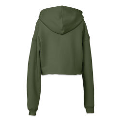 Bella + Canvas Cropped Fleece Hoodie - Military Green, Size Small