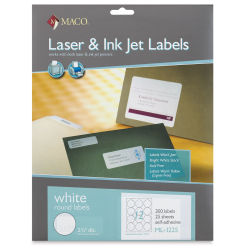 Maco Laser/Ink Jet White Multi-Purpose Labels - Round Label, 300 Labels