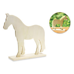 "Craft Medley Standing Wood Animal - Horse, 6-1/2"" W x 7-1/2"" H (Shown with sample finished artwork)"
