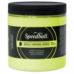Speedball Permanent Acrylic Screen Printing Poster Ink - Fluorescent Yellow, 8 oz