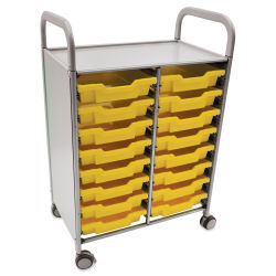 Gratnells Callero Storage Cart with 16 Shallow Trays - Sunshine Yellow