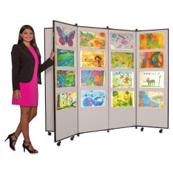 Screenflex Mobile Display - 5 ft 9'', Wheat, 6 Panel