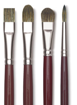 Da Vinci Black Sable Brush - Bright, Long Handle, Size 3/0