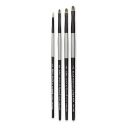 Dynasty Black Silver Synthetic Brushes - Set 3, Pkg of 4
