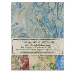 Lokta Papers - Marble Blue, 12 Sheets