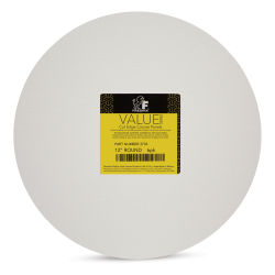 Fredrix Cut Edge Canvas Panels - 12'' Round, White, Pkg of 6