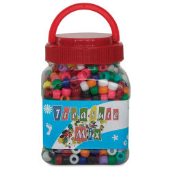 John Bead Plastic Bead Mix - Pony Beads, 1000 beads
