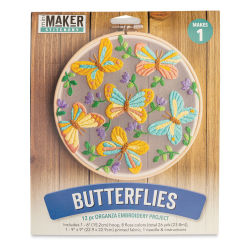 Leisure Arts Organza Embroidery Kit - Butterflies (Front of packaging)