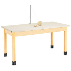Diversified Woodcrafts Clay Wedgin Table - 30'' x 60'' x 30'', Laminate Surface, Canvas Cover included
