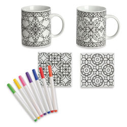Hearthsong Color Mugs and Coasters Set - Geometric