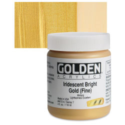 Golden Heavy Body Artist Acrylics - Iridescent Bright Gold (Fine)(65), 4 oz Jar