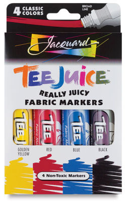 Jacquard Tee Juice Fabric Markers - Classic Colors, Broad Point, Set of 4, Markers