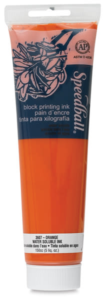 Speedball Water-Based Block Printing Ink - Orange, 5 oz