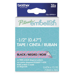 Brother P-Touch Embellish Print Pattern Tape - Black on Pink and Blue Diagonal