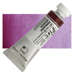 PWC Extra Fine Professional Watercolor - Permanent Magenta, 15 ml, Swatch with Tube