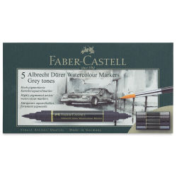 Faber-Castell Albrecht Dürer Watercolor Markers - Grey Tones, Set of 5 (front of package)