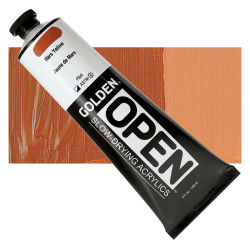 Golden Open Acrylics - Mars Yellow, 5 oz, Tube with Swatch