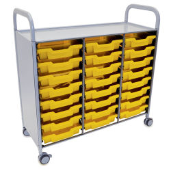 Gratnells Callero Plus Cart - Treble Cart, 24 Shallow F1 Trays, Sunshine Yellow