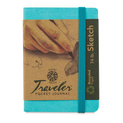 Pentalic Recycled Traveler's Sketchbook - 4-1/8'' x 2-7/8'', Turquoise