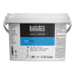 Liquitex Acrylic Gesso-White 1/2 Gallon Bucket. Front of bucket.