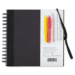 Shizen Watercolor Journal - 8'' x 8'', Hot Press, Black Cover