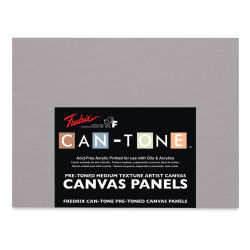 Fredrix Can-Tone Pre-Toned Canvas Panels - Tara Gray, 9'' x 12'', Pkg of 3