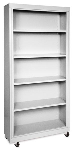 Sandusky Lee Mobile Bookcase - 36 x 78 x 18, Dove Gray