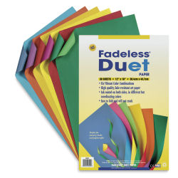 Fadeless 2-Color Duet Paper - 12'' x 18'', Assorted Colors, Pkg of 30