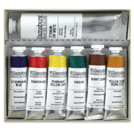 Williamsburg Handmade Oil Paints - Basic Painting Set, Set of 7 colors, 37 ml tubes