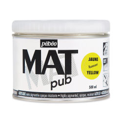 Pebeo Mat Pub Acrylic Paint - Fluorescent Yellow, 500 ml