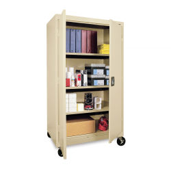 Mobile General Storage Cabinet - 36'' x 24'' x 66'', Putty