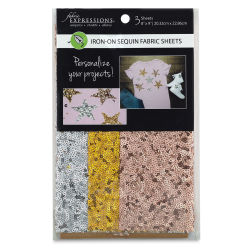 Fabric Expressions Iron-On Fabric Sheets - Sequin, Pkg of 3