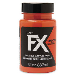 Plaid FX Smooth Satin Flexible Acrylic Paint - Orbital Orange, 3 oz