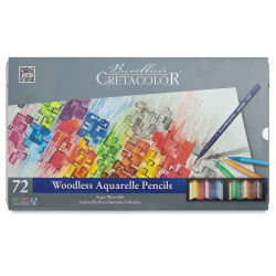 Cretacolor Aqua Monolith Woodless Watercolor Pencil Set - Assorted Colors, Tin Box, Set of 72
