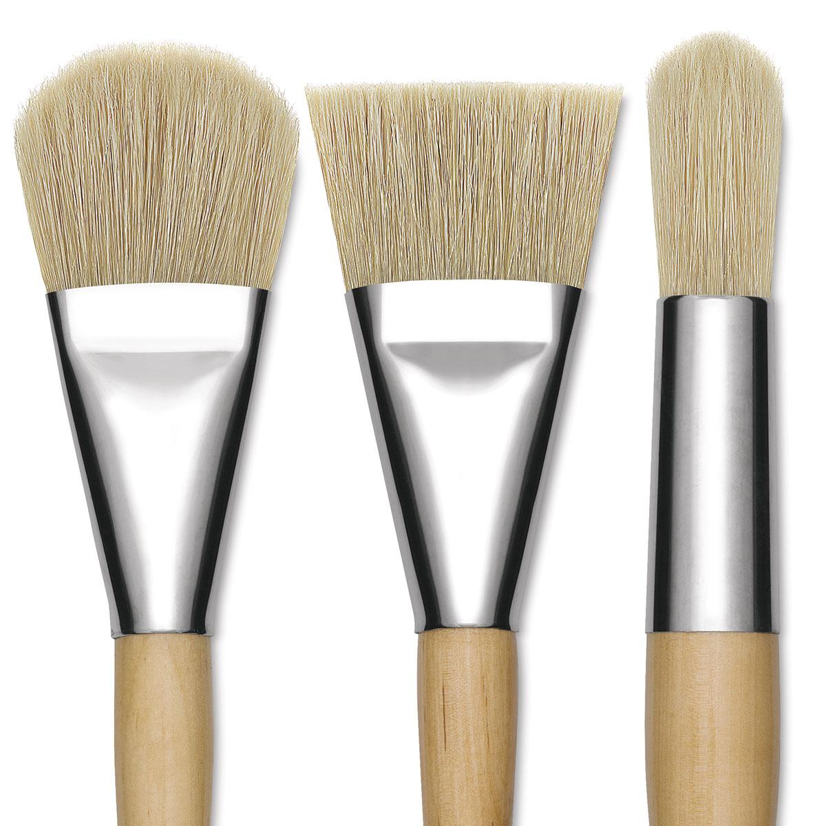Natural Ox Hair Pro-Art Artist Select Short Handle Assorted Colors Brush Tub