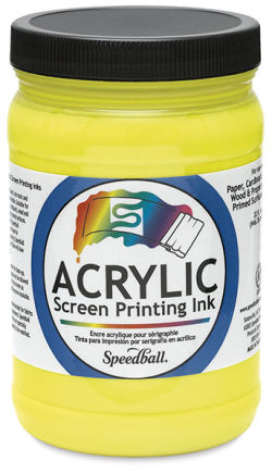 Speedball Permanent Acrylic Screen Printing Poster Ink - Process Yellow, Quart