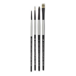 Dynasty Black Silver Synthetic Brushes - Set 6, Pkg of 4