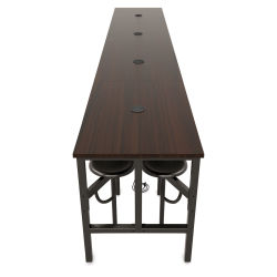OFM Endure Tables with Attached Stools - 16 Seats, Walnut Top, Dark Vein Seats, 186''L