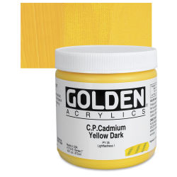 Golden Heavy Body Artist Acrylics - Cadmium Yellow Dark, 16 oz Jar
