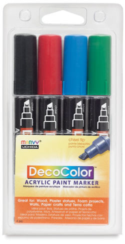 Decocolor Acrylic Paint Marker Set - Primary Colors, Set of 4