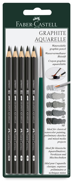 Graphite Aquarelle Pencils w/ Brush, Set of 5