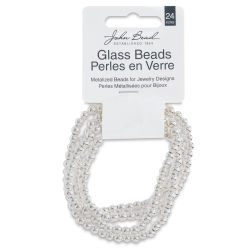 John Bead Metalized Glass Beads - Silver, 4 mm, 24'' Strand