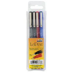 Marvy Uchida LePen Fine Line Marker Set  - Basic Colors, Set of 4