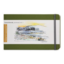Hand Book Artist Journal - 5-1/2'' x 8 1/4'', Cadmium Green, Landscape, 128 Pages