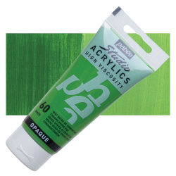 Pebeo High Viscosity Acrylics - Chrome Green Hue, 100 ml, Swatch with Tube